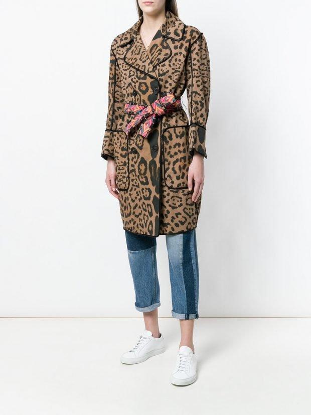 пальто весна с хищным принтом