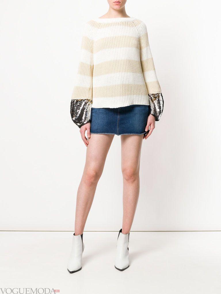 свитер кардиган с пышными рукавами и юбка мини