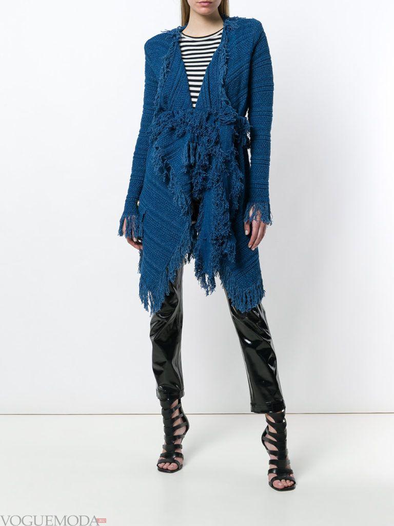 синий кардиган-пальто с бахромой и поясом