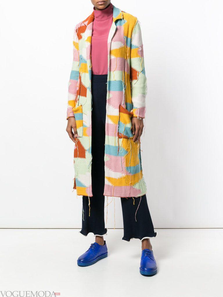 кардиган-пальто с принтом и карманами