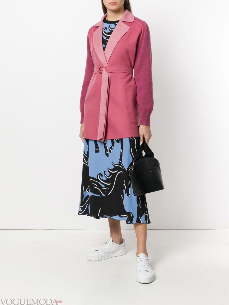 розовый кардиган-пальто с поясом