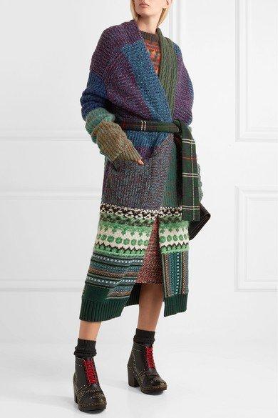 вязаный кардиган-пальто с поясом