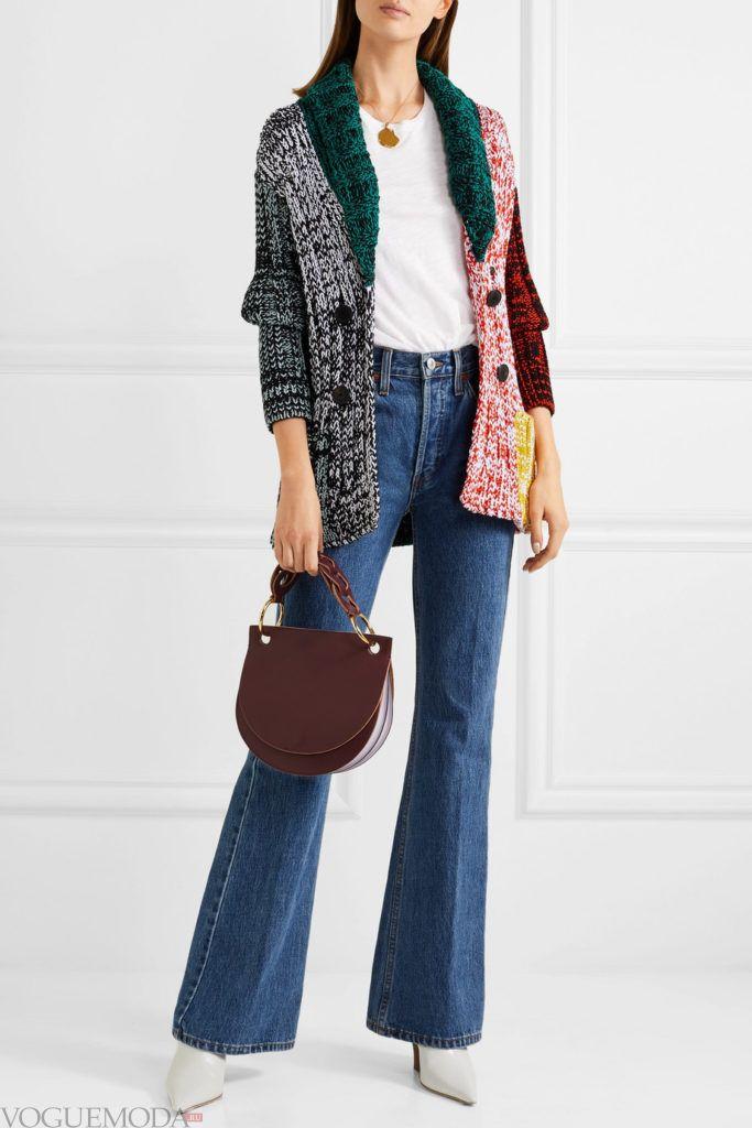 длинный кардиган колорблок и джинсы клеш