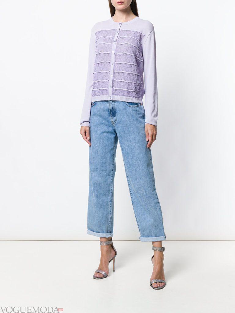 летний кардиган с вставками и джинсы