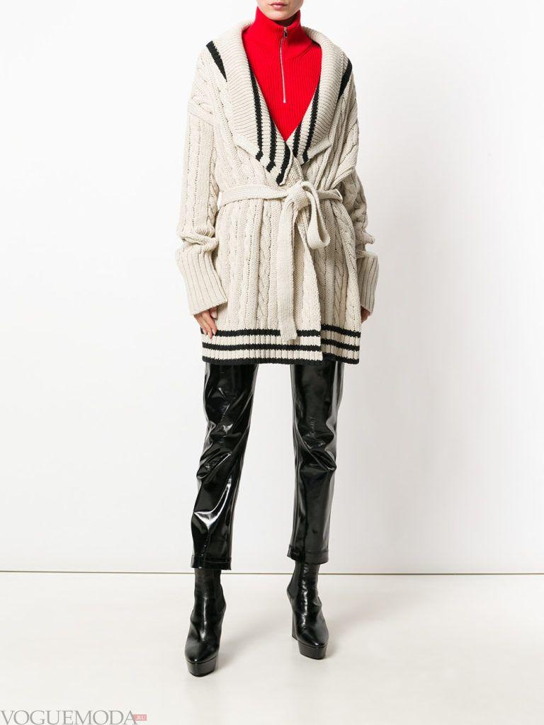 зимний удлиненный кардиган с поясом и укороченные брюки