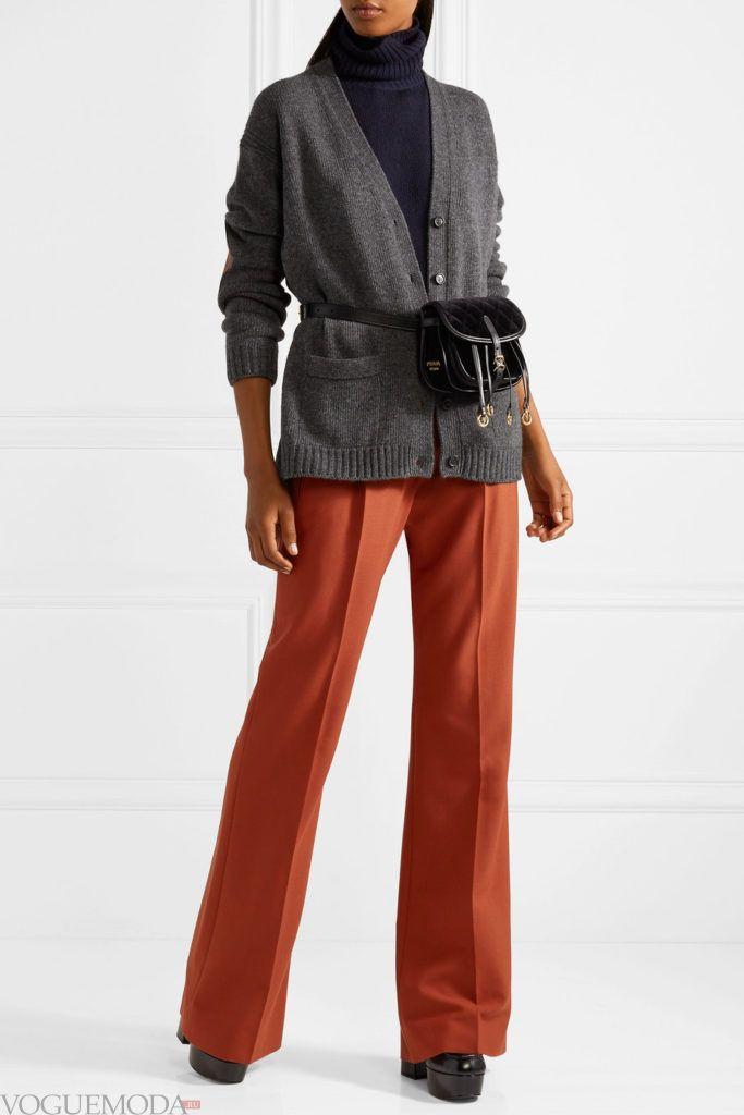 зимний серый кардиган и прямые брюки