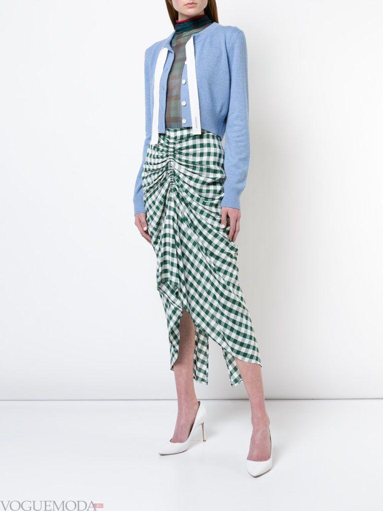 весенний голубой кардиган и юбка со сборкой