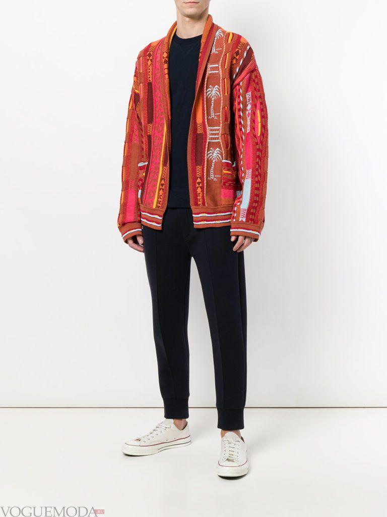 мужской кардиган с принтом и брюки с манжетами