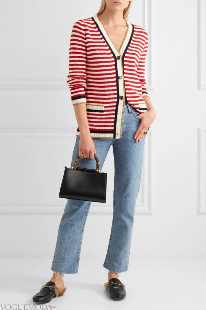 молодежный кардиган в полоску и джинсы