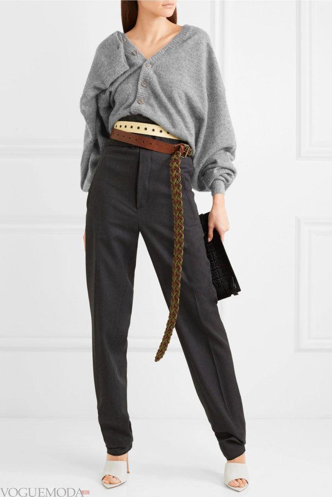 серый молодежный кардиган оверсайз и высокие брюки