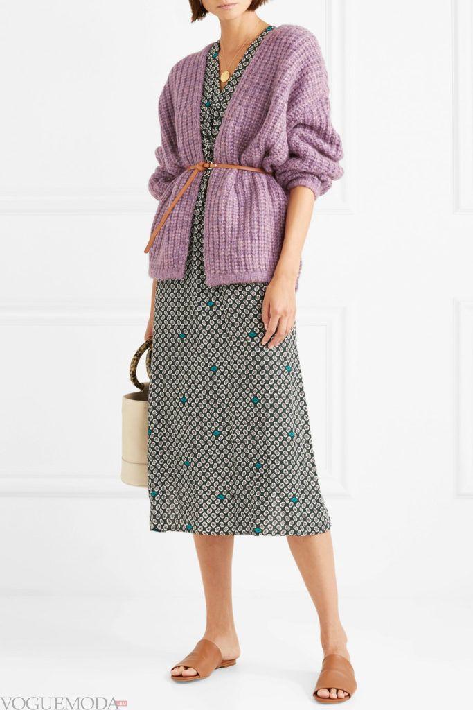 вязаный фиолетовый кардиган и юбка миди
