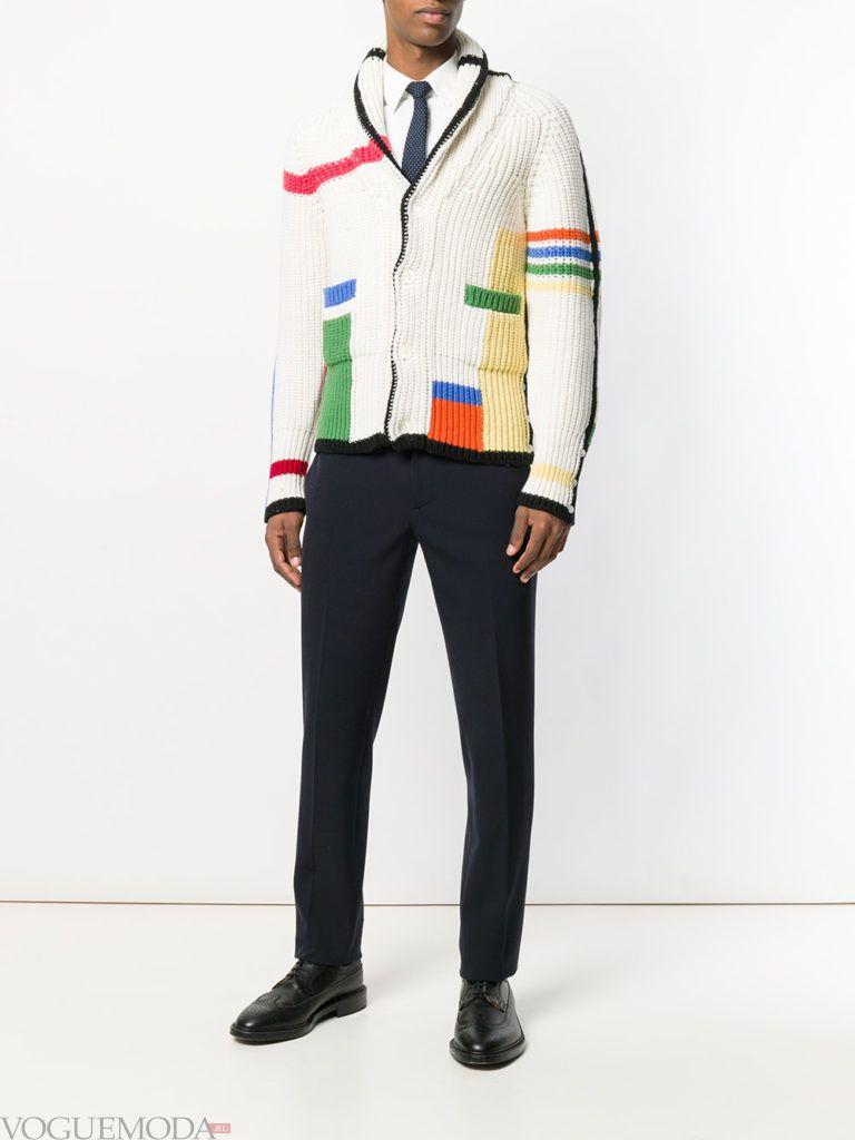 мужской кардиган с геометрическим принтом с брюками