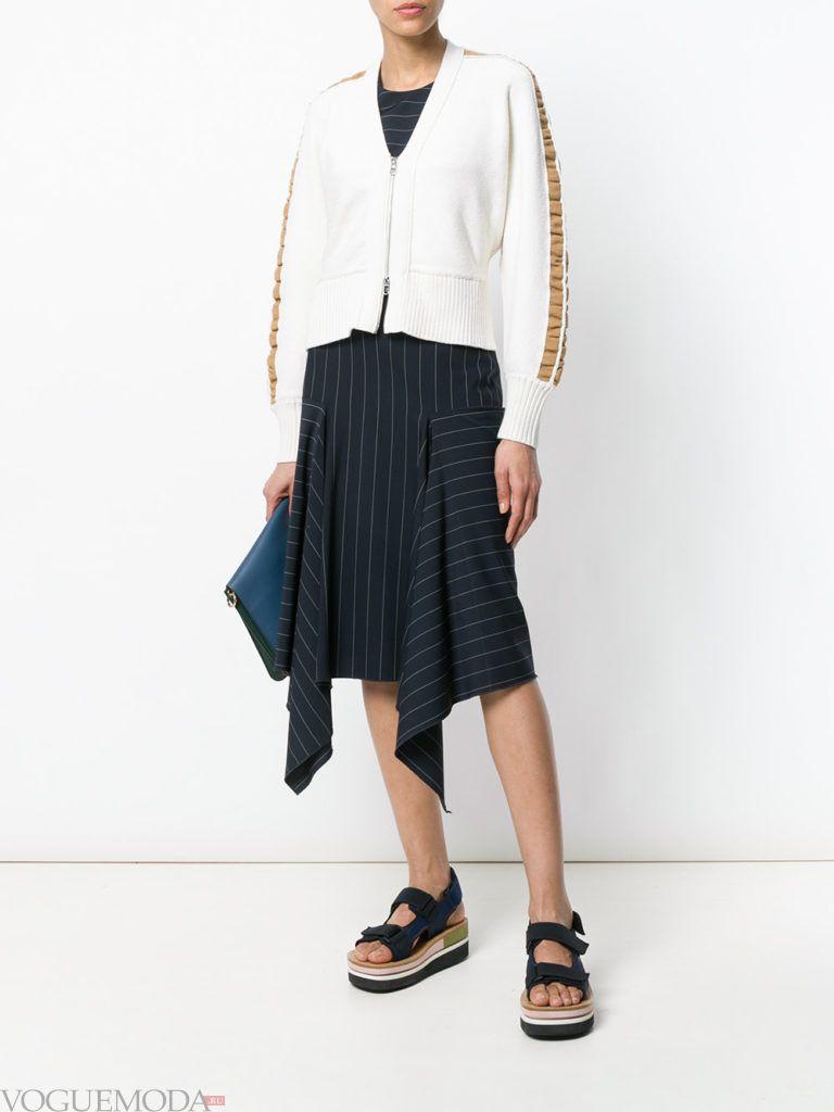 кардиган на молнии с рюшами и асимметричная юбка