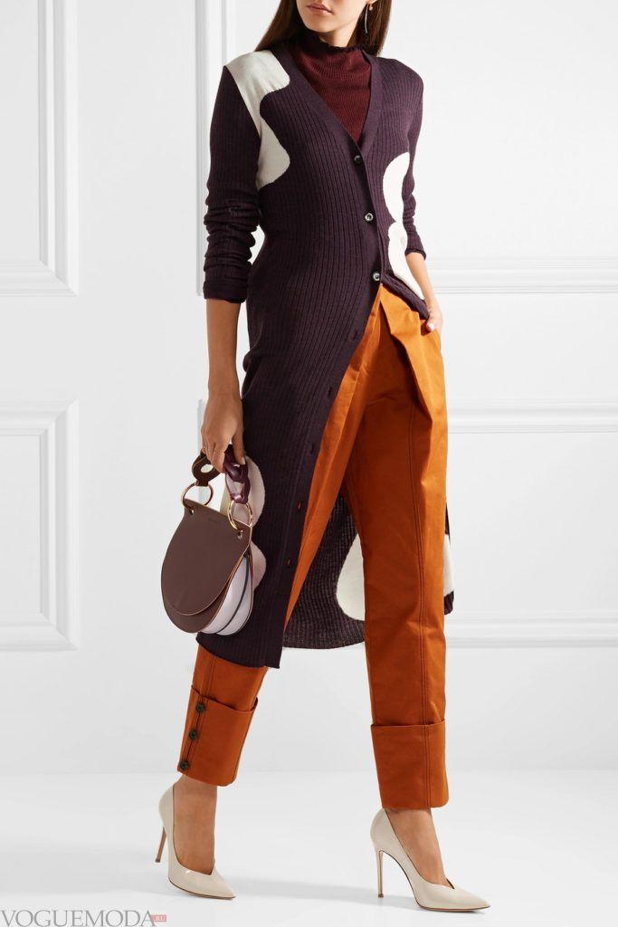длинный кардиган с изображением с брюками