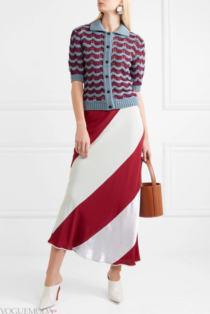 кардиган с короткими рукавами и юбка макси