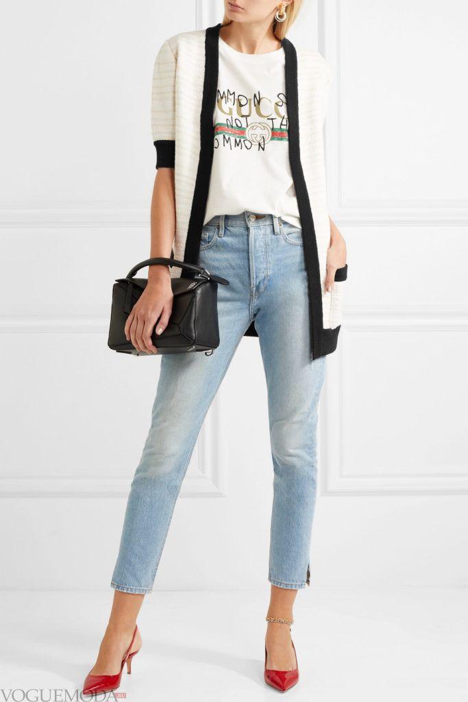 кардиган с укороченными рукавами и джинсы