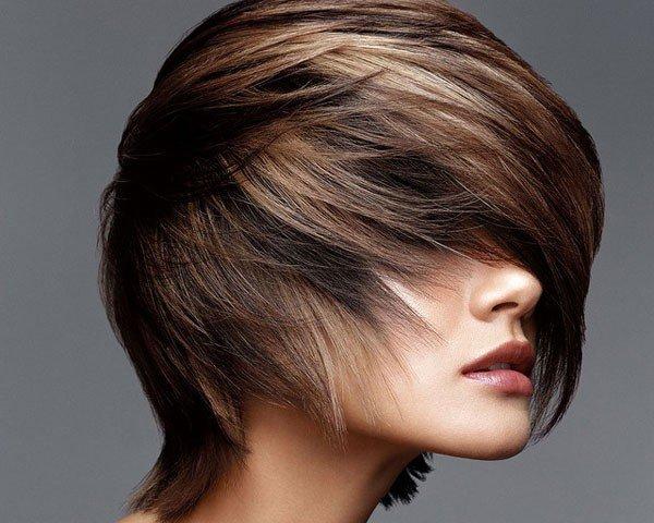 модный балаяж на темные короткие волосы