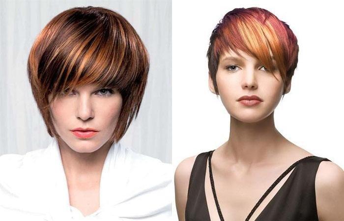 рыжий балаяж на темные короткие волосы