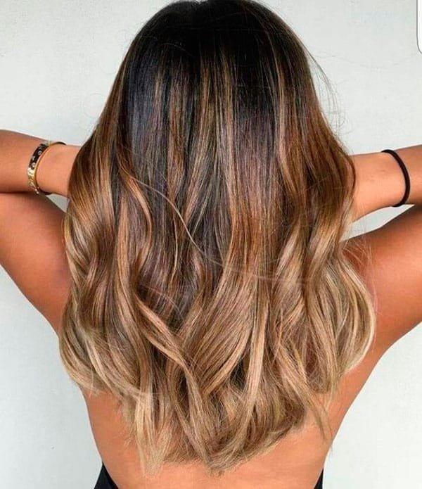модный балаяж на темные волосы средней длины