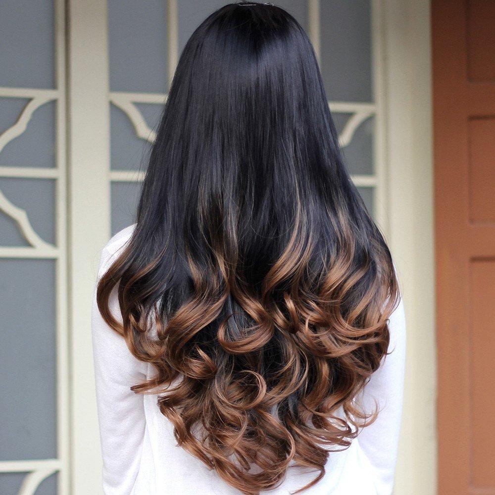 модный балаяж на темные длинные волосы
