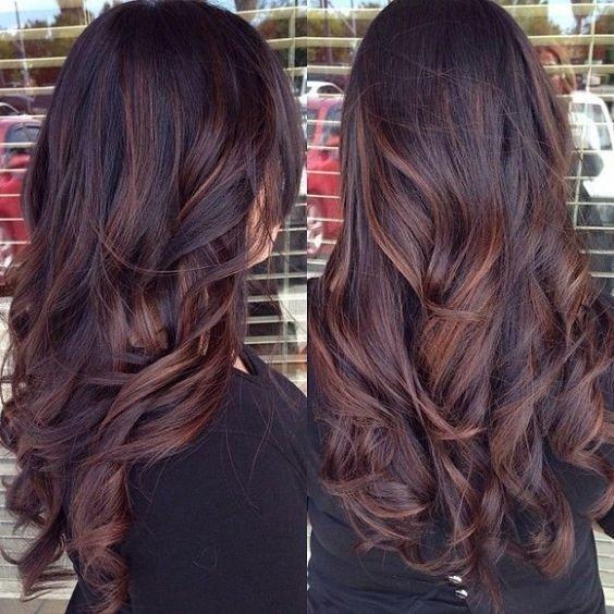 балаяж на темные длинные волосы шоколад