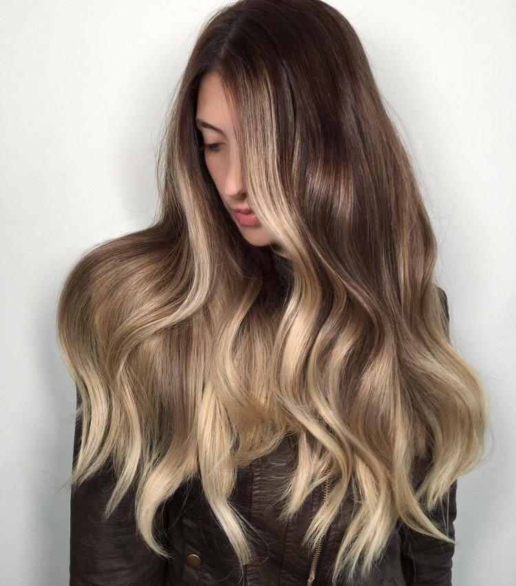 светлый балаяж на темно русые волосы