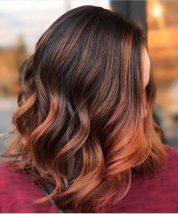 рыжий балаяж на темные волосы средней длины