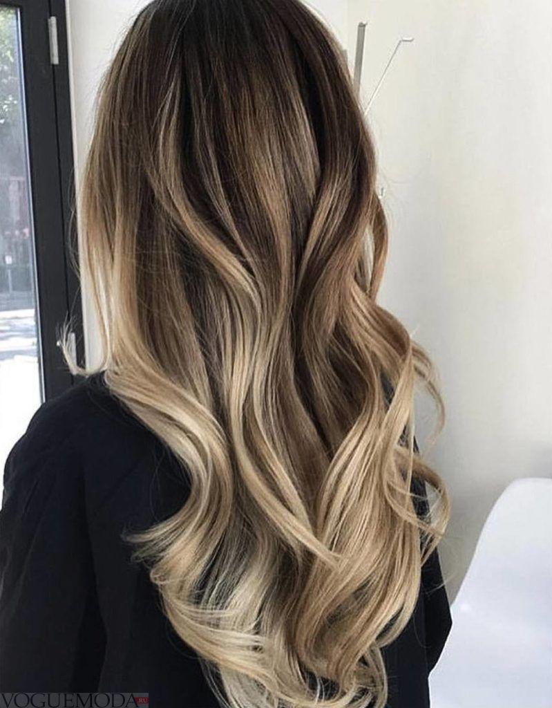 балаяж на темно русые волосы модный
