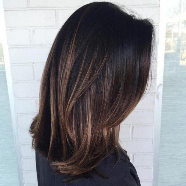 модный балаяж на темные прямые волосы