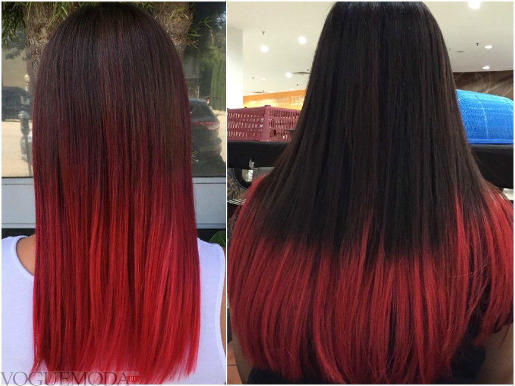 балаяж на темные прямые волосы красного цвета