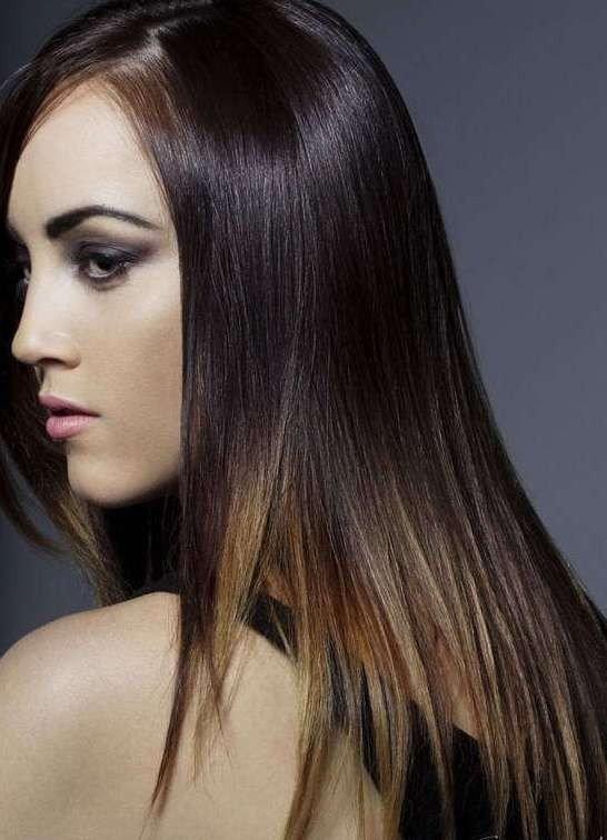балаяж на темные прямые волосы натуральный