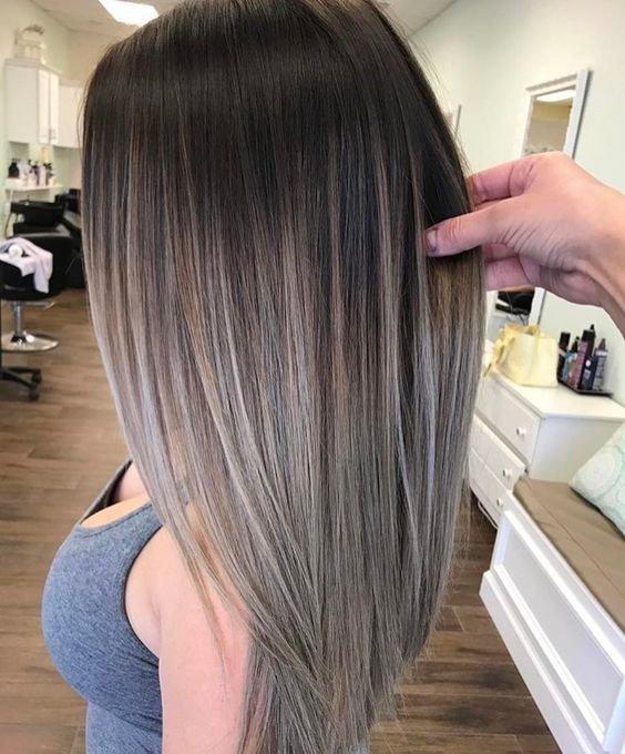 светлый балаяж на темные волосы средней длины