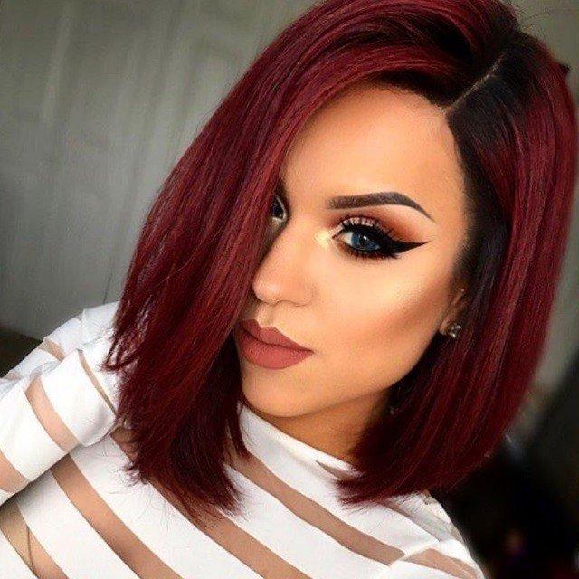 балаяж на темные волосы цвета рубин