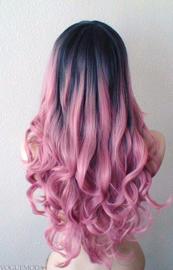 розовый балаяж на темные волосы