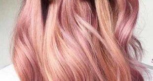 светлый розовый балаяж на темные волосы