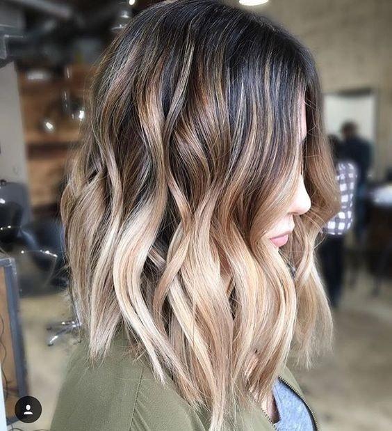 балаяж блонд на темные волосы средней длины