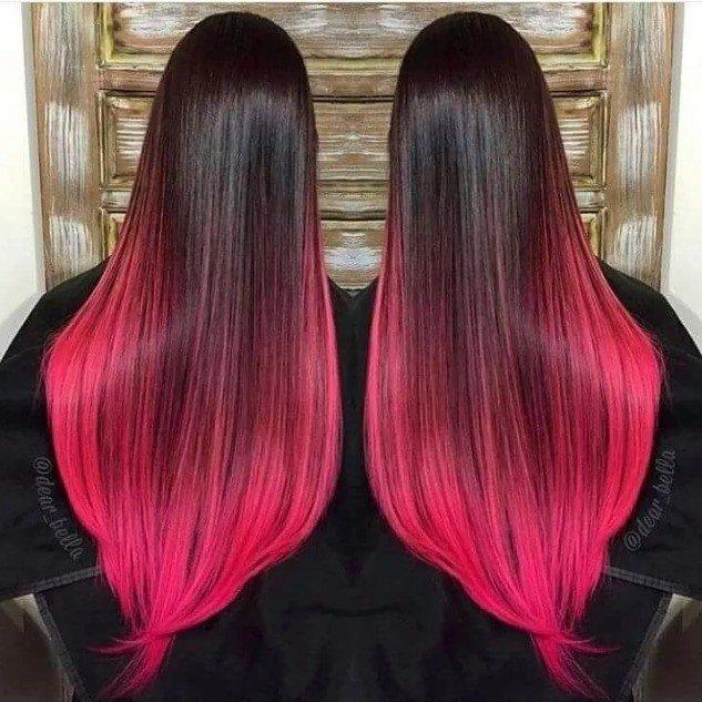 розовый балаяж на темные прямые волосы
