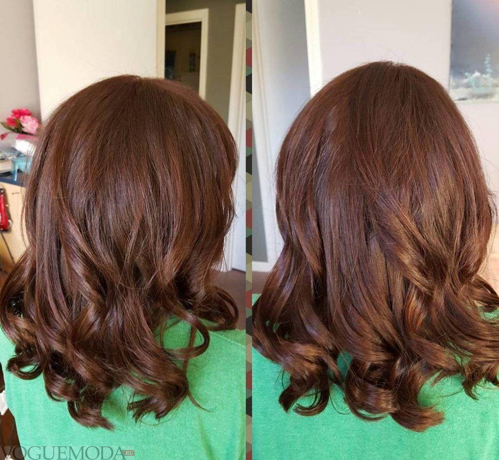 шоколадный балаяж на темные волосы