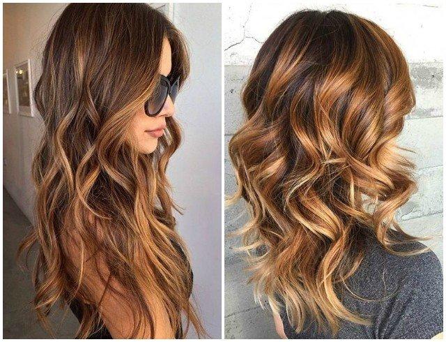 карамельный балаяж на темные волнистые волосы