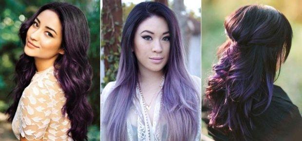 балаяж на темные волосы разных холодных оттенков