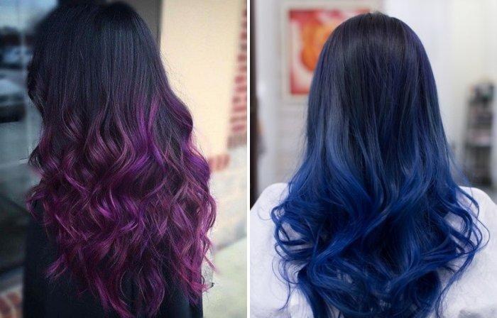 разноцветный балаяж на темные волосы