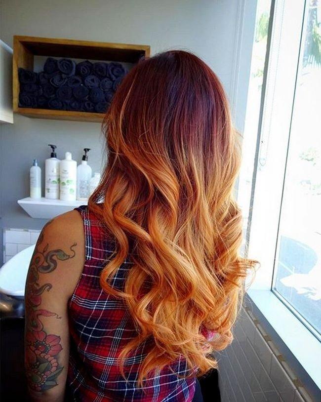 рыжий балаяж на темные волосы