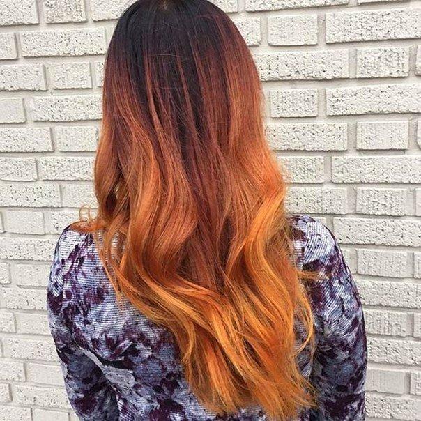 рыжий балаяж на темные длинные волосы