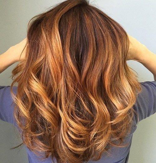 рыжий балаяж на темные средние волосы
