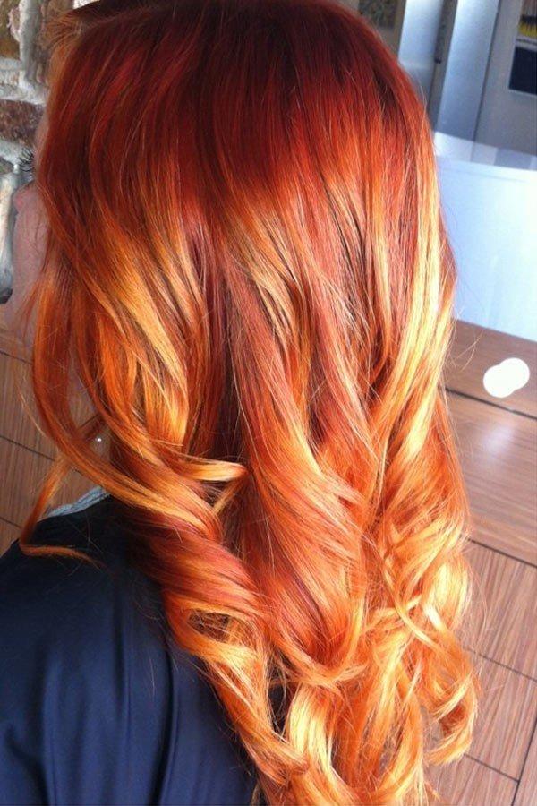 яркий рыжий балаяж на темные волосы