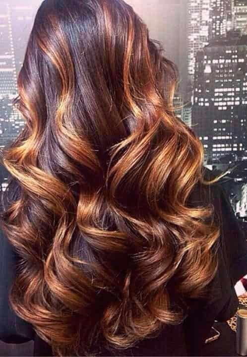 рыжий балаяж на темные волнистые волосы