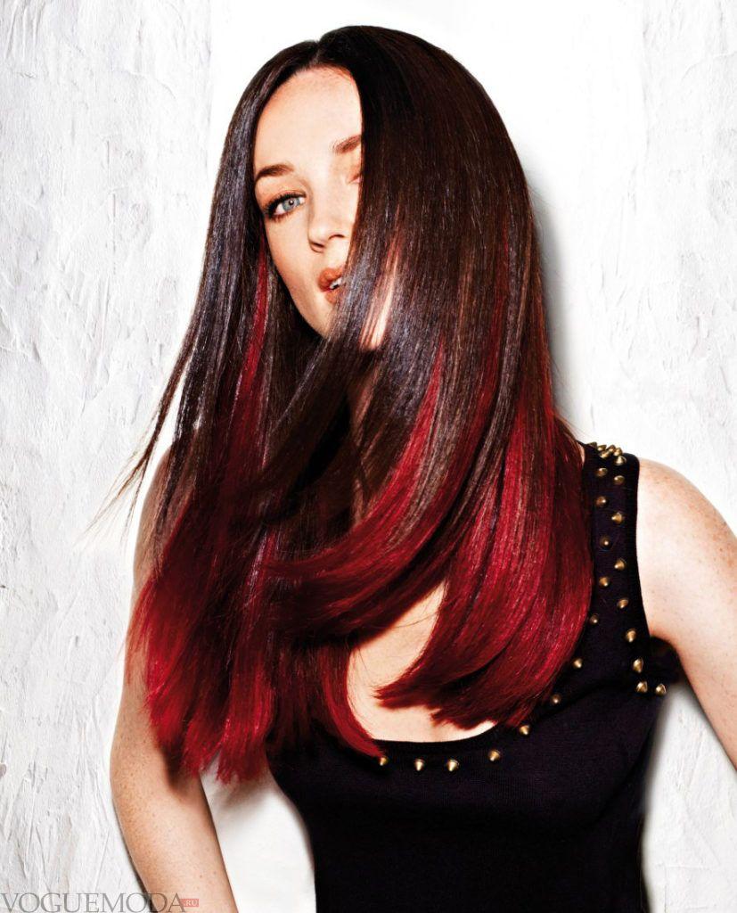 модный рыжий балаяж на темные волосы