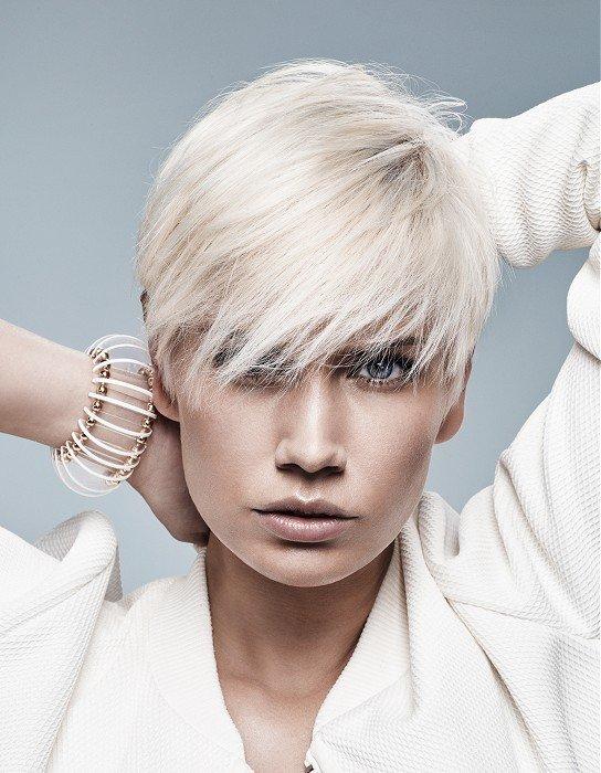 стрижка с длинной челкой и коротким затылком цвета блонд