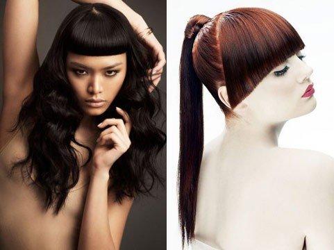 длинные волосы с короткой челкой