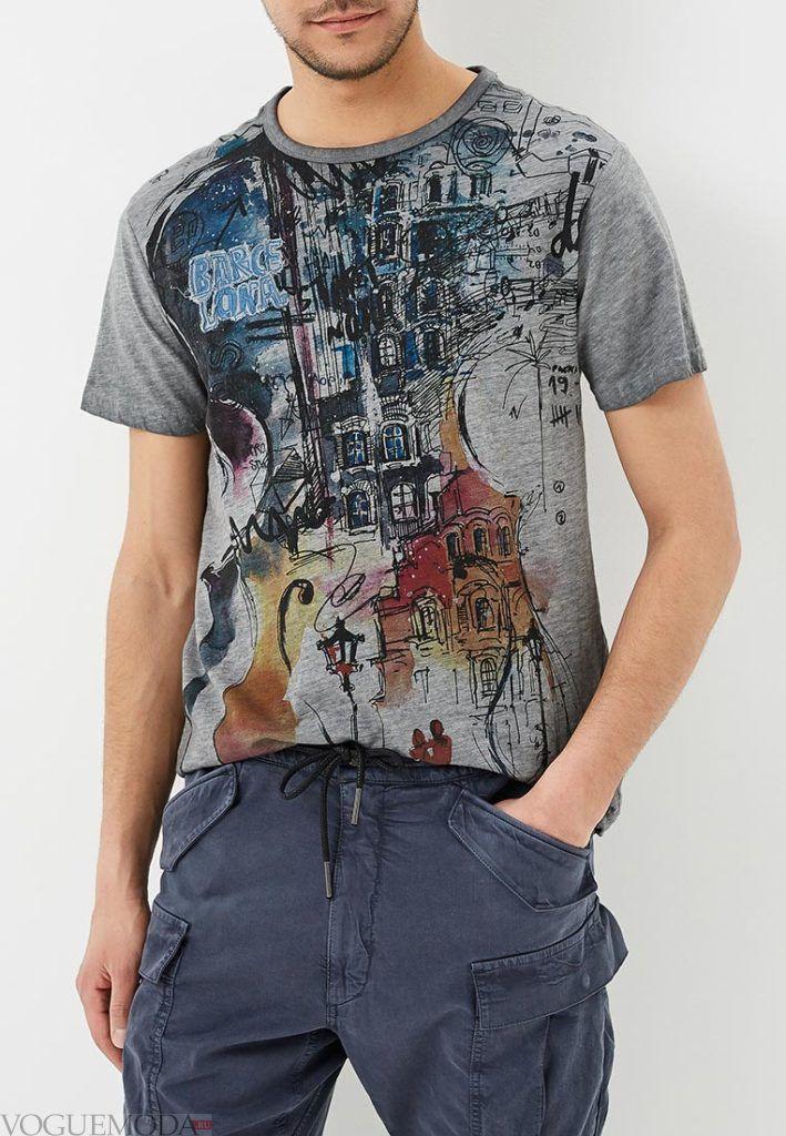 мужская серая футболка с рисунком